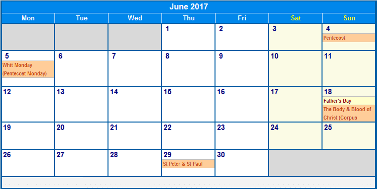 Print June Calendar 2017 Download