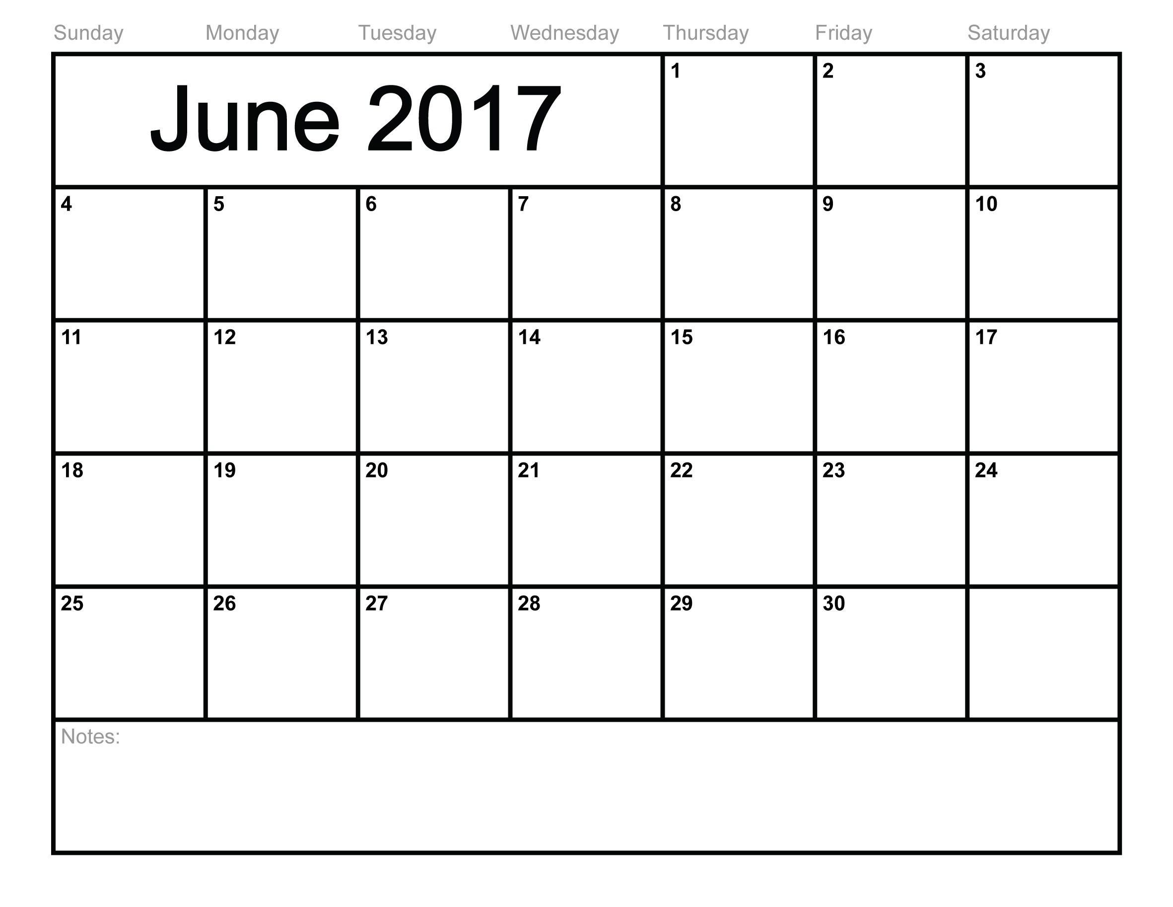 Print June Calendar 2017 Download
