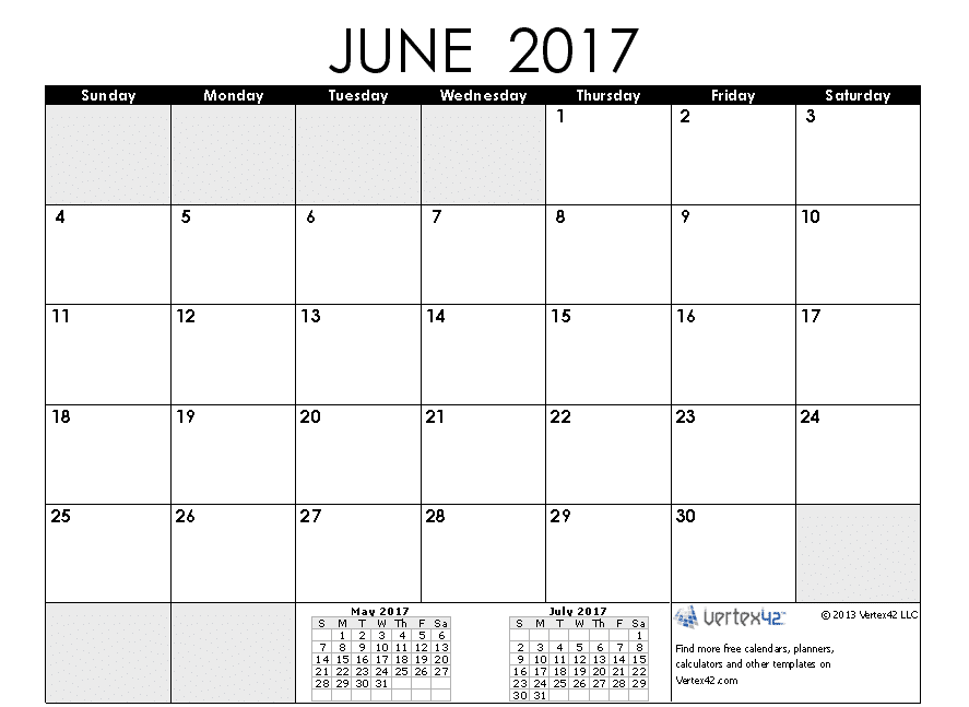 Print June Calendar for 2017 Template