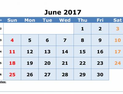 Print Online Monthly Calendar June 2017