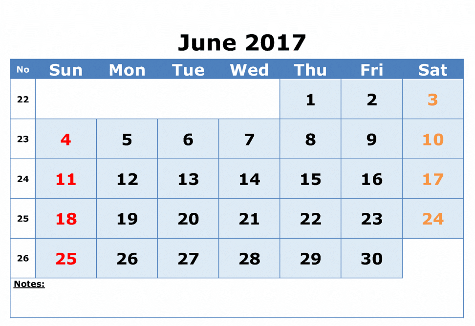 Print Online Monthly Calendar June 2017