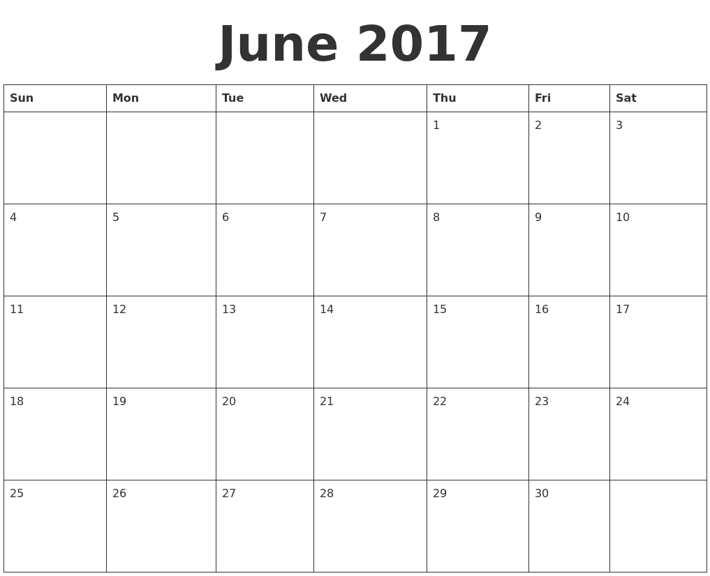 Print June Calendar for 2017 Template Download