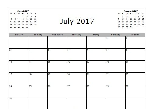 Printable July 2017 Calendar