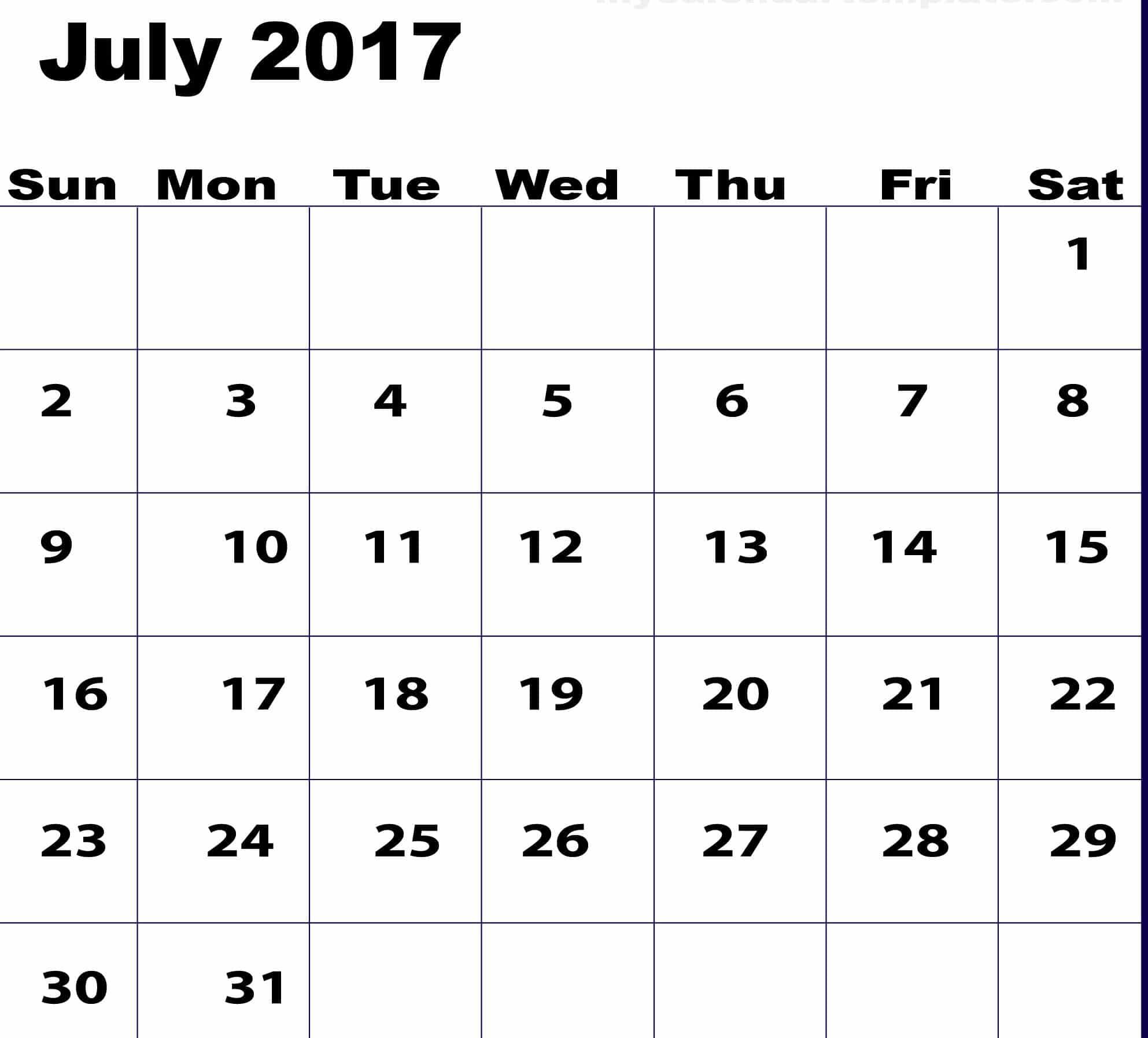 June July 2017 Calendar Images
