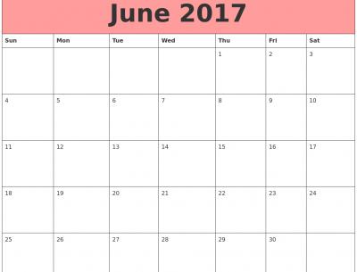 Printable June 2017 Calendar Download