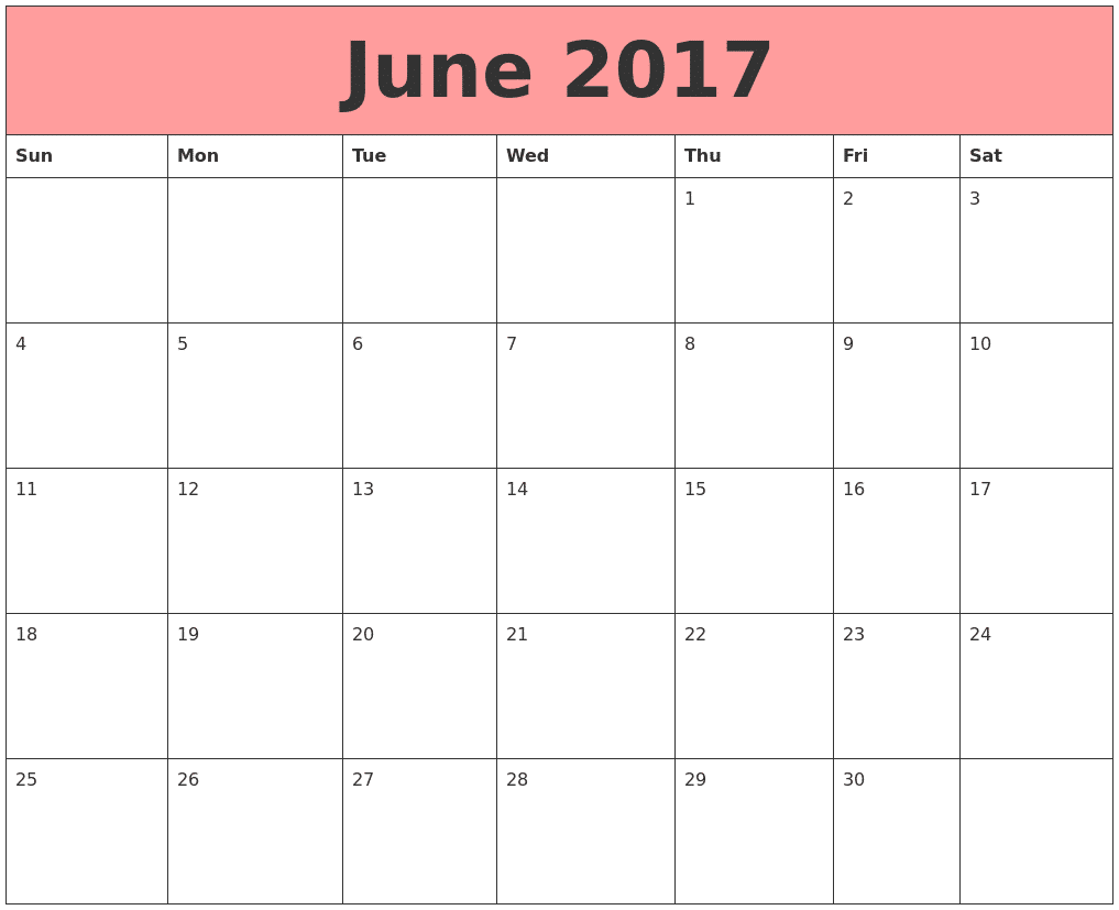 Printable June 2017 Calendar Download
