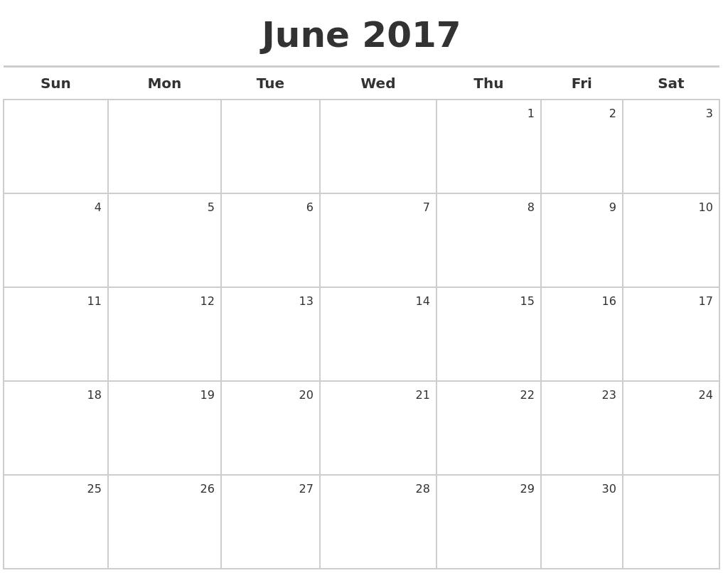 Printable June 2017 Calendar Images