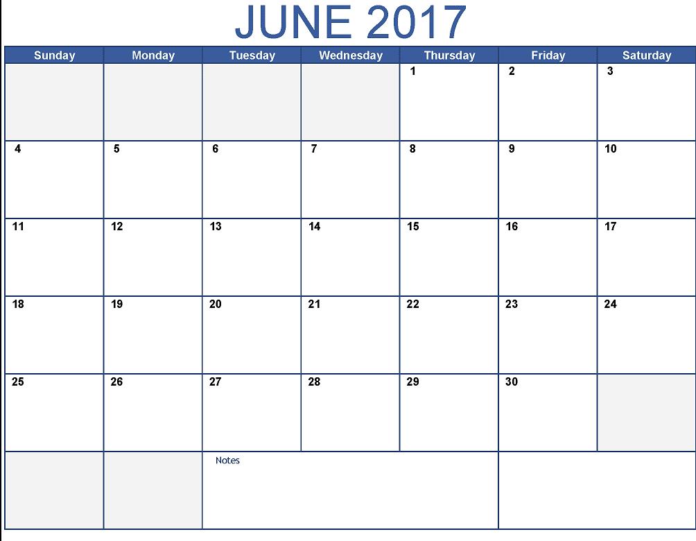 Printable June 2017 Calendar UK Download
