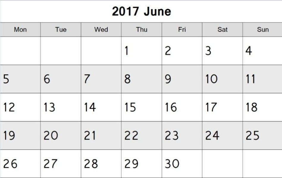 Printable June 2017 Calendar UK