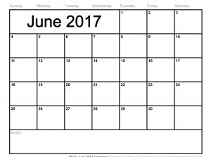Printable June 2017 Calendar With Notes