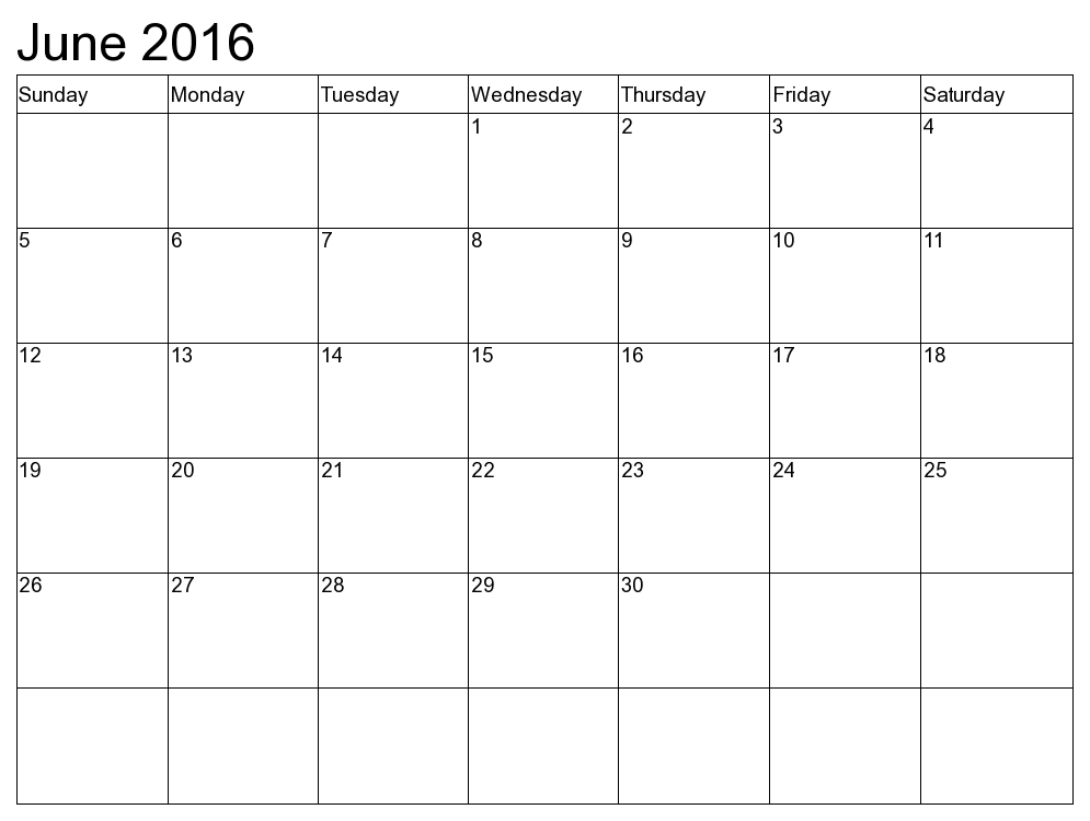 Printable June Calendar 2017 Template