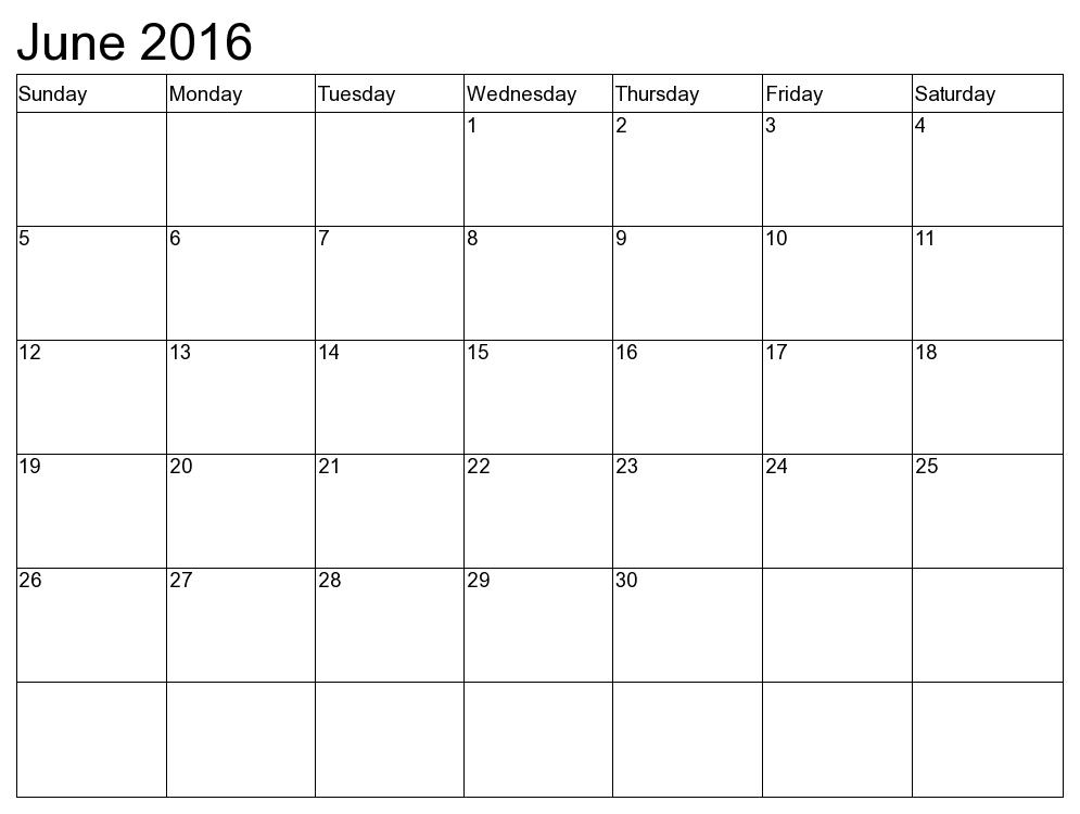 Printable June Calendar 2017 Template