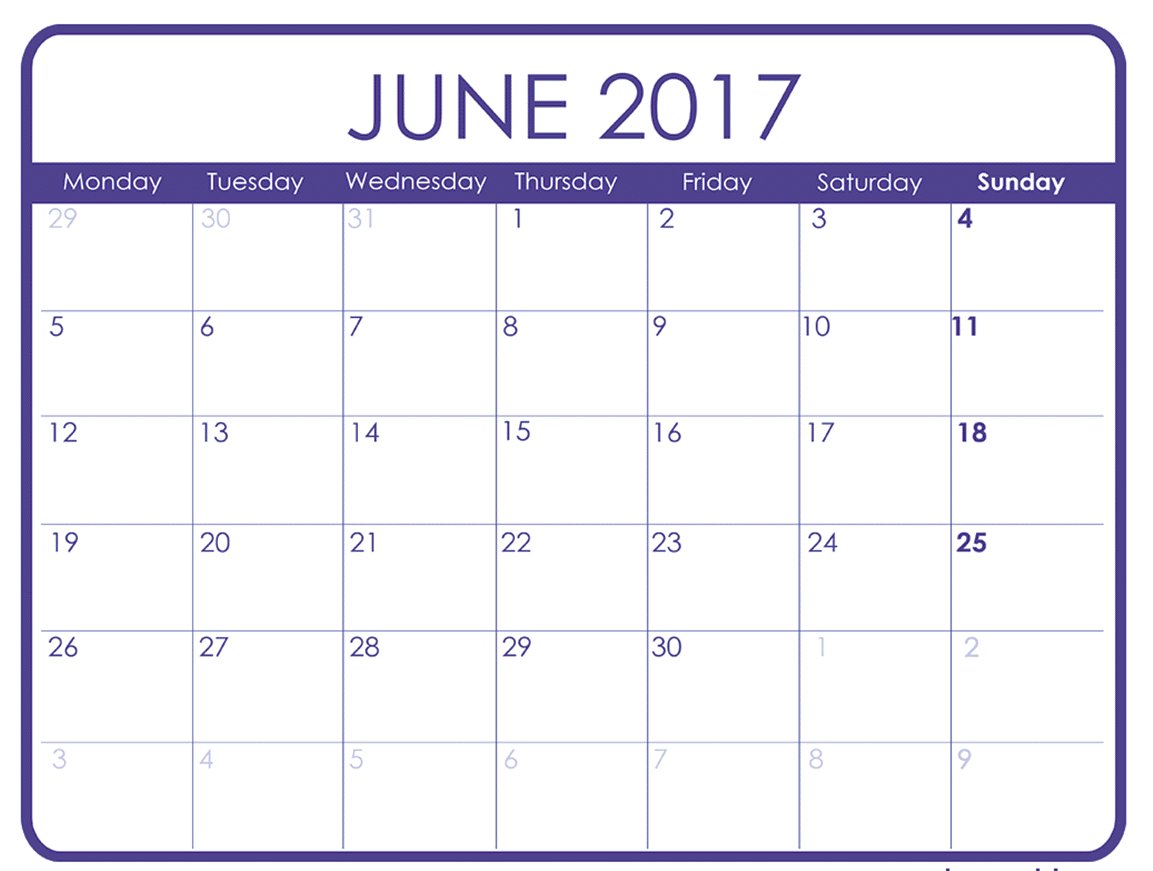 Printable June Calendar for 2017 Template Download