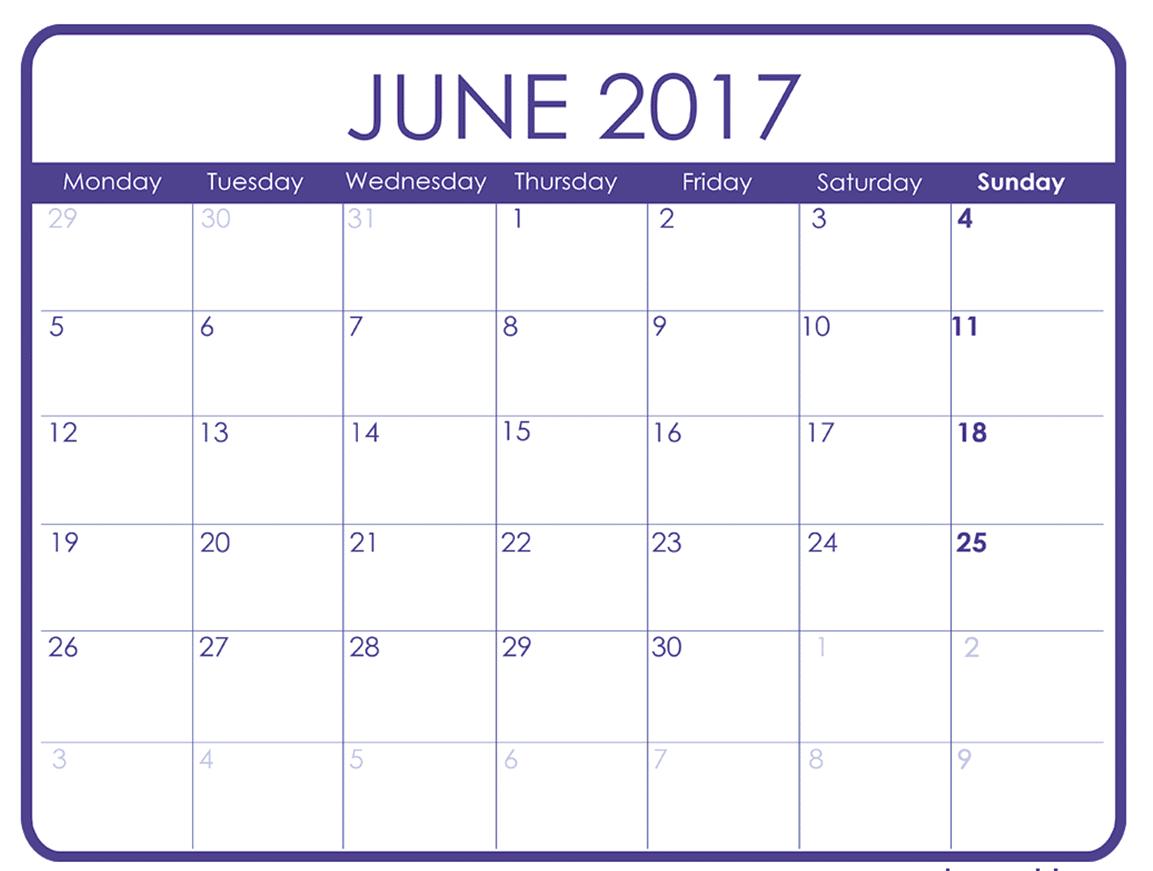 Printable June Calendar for 2017 Template Download