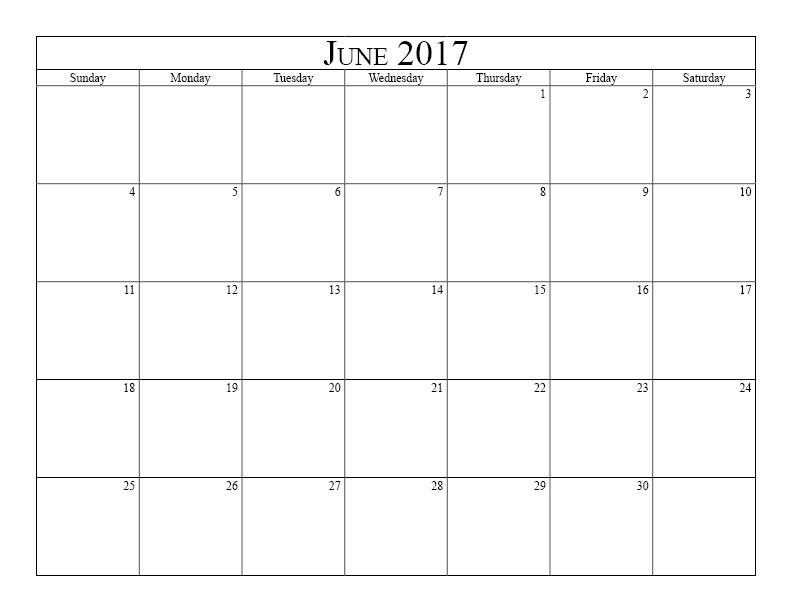 Printable June Calendar for 2017 Template