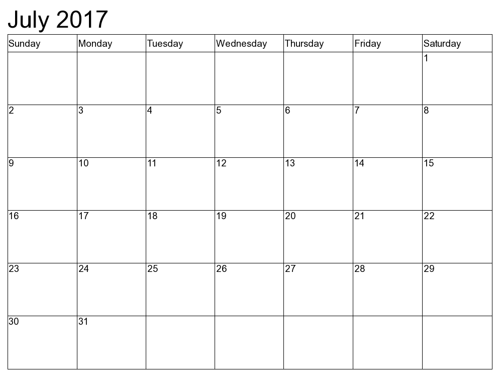 Printable June July 2017 Calendar Image