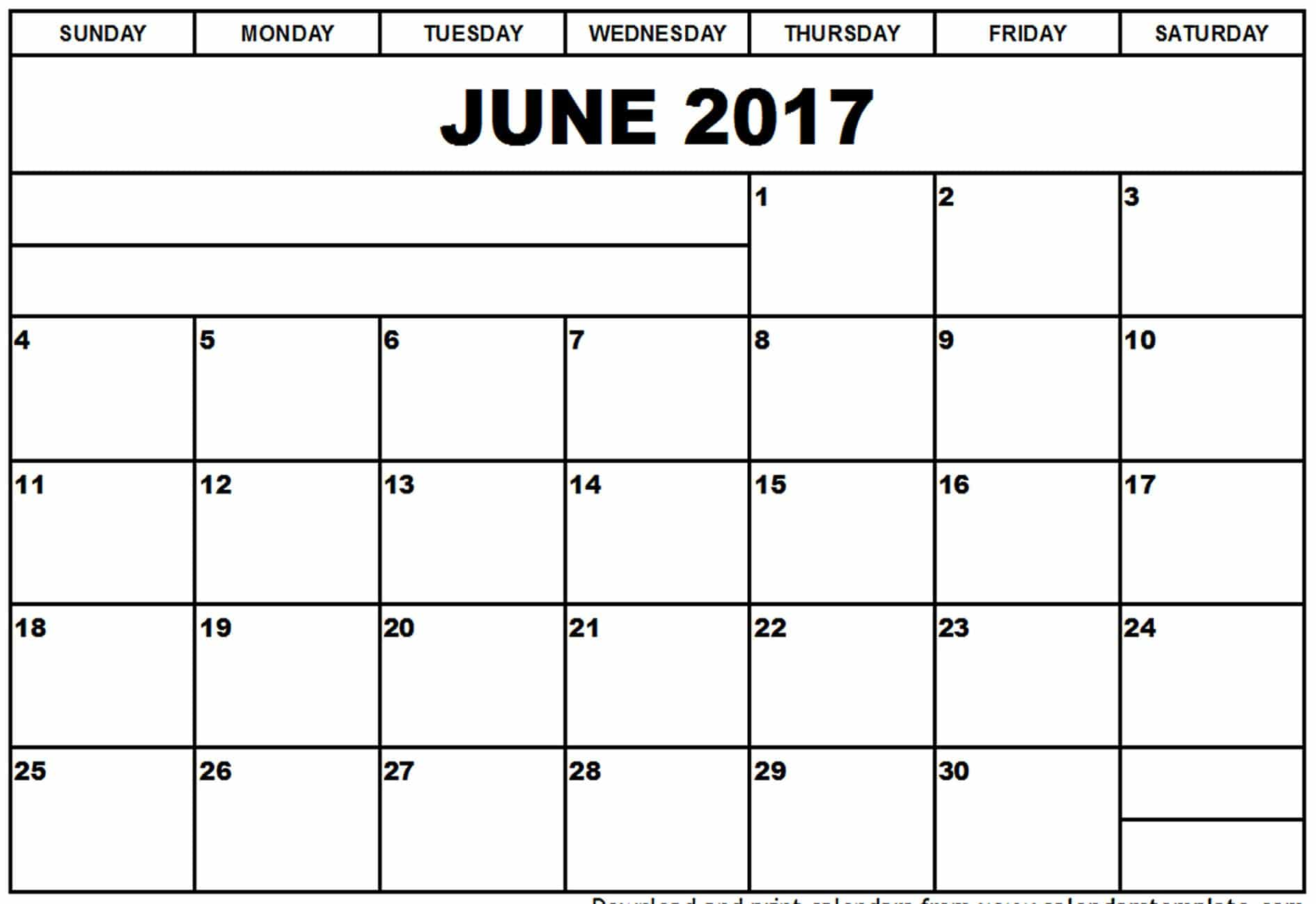 Printable Monthly Calendar June 2017
