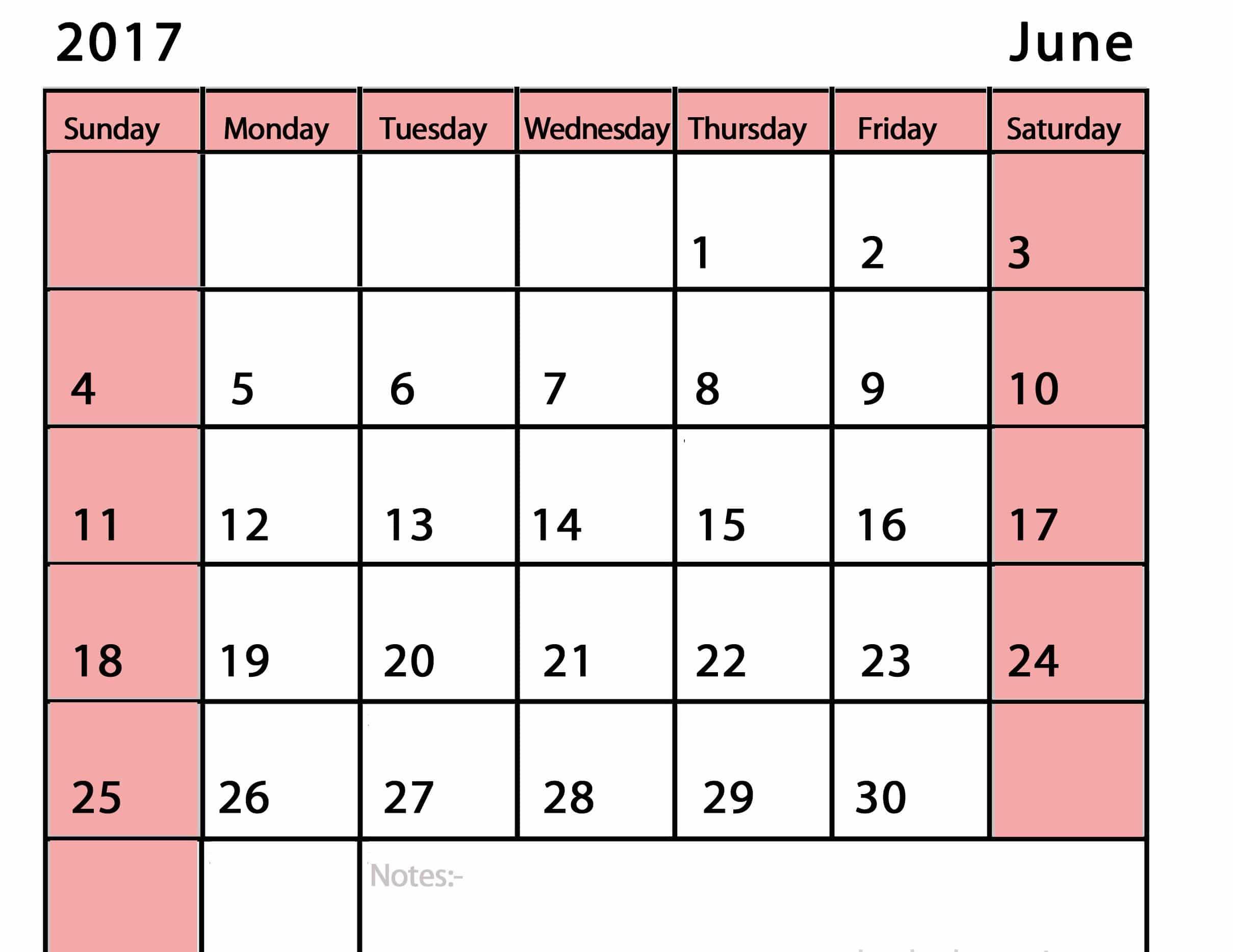 Save 2017 June Calendar Printable