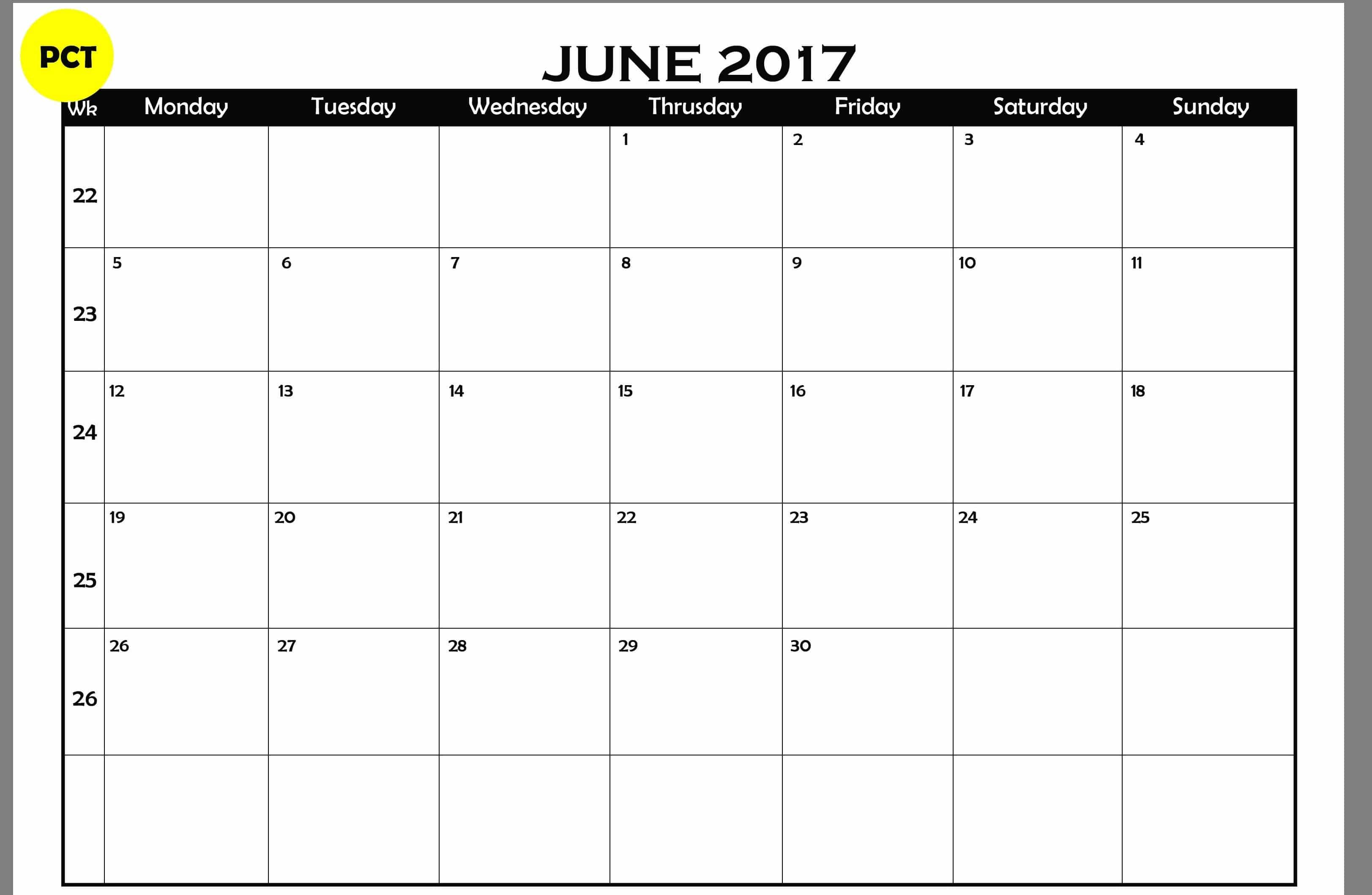 Save Calendar For June 2017 Template