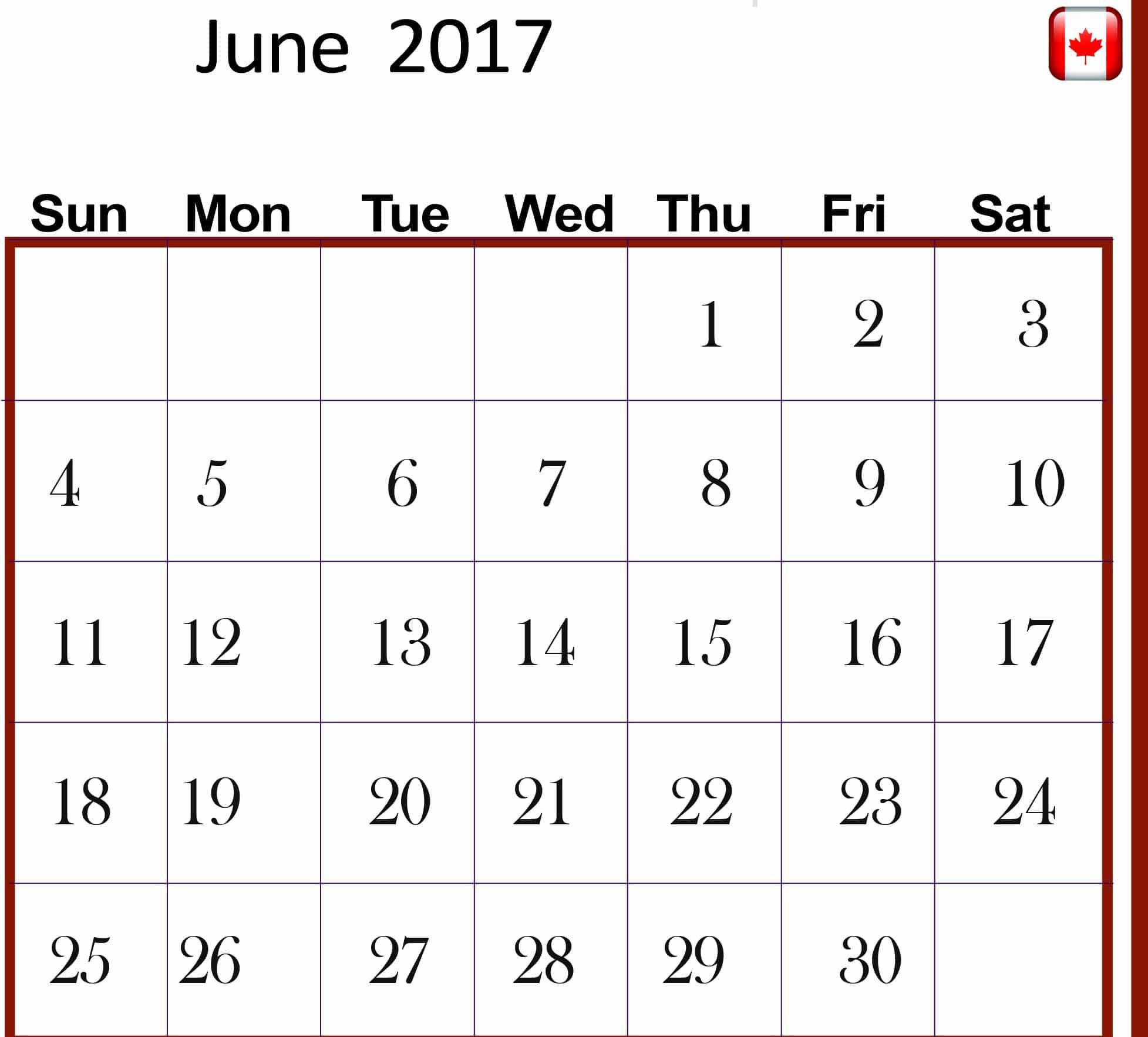 Save June 2017 calendar Canada