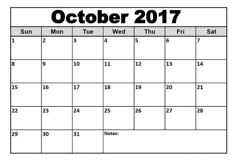 2017 October Calendar Excel