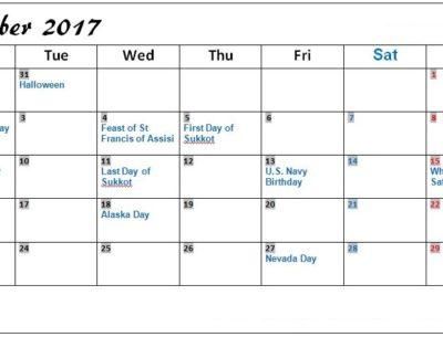2017 October Calendar with Holidays