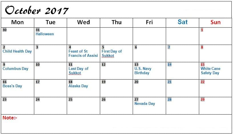 2017 October Calendar with Holidays