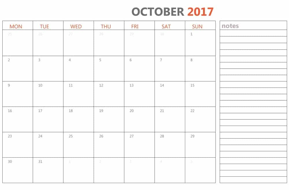 2017 October Calendar with Notepad