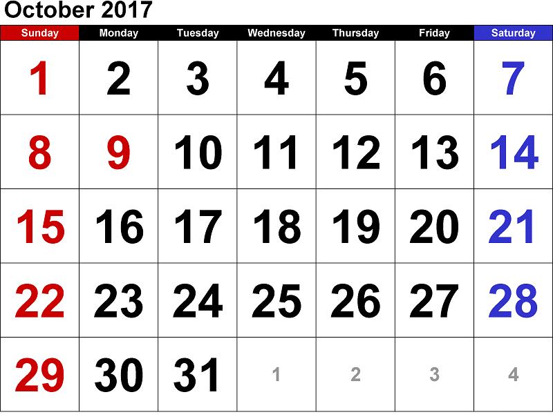 2017 October Calendar