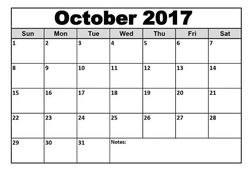 2017 October free Calendar