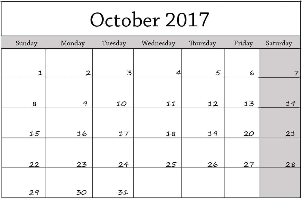 Blank 2017 October Calendar