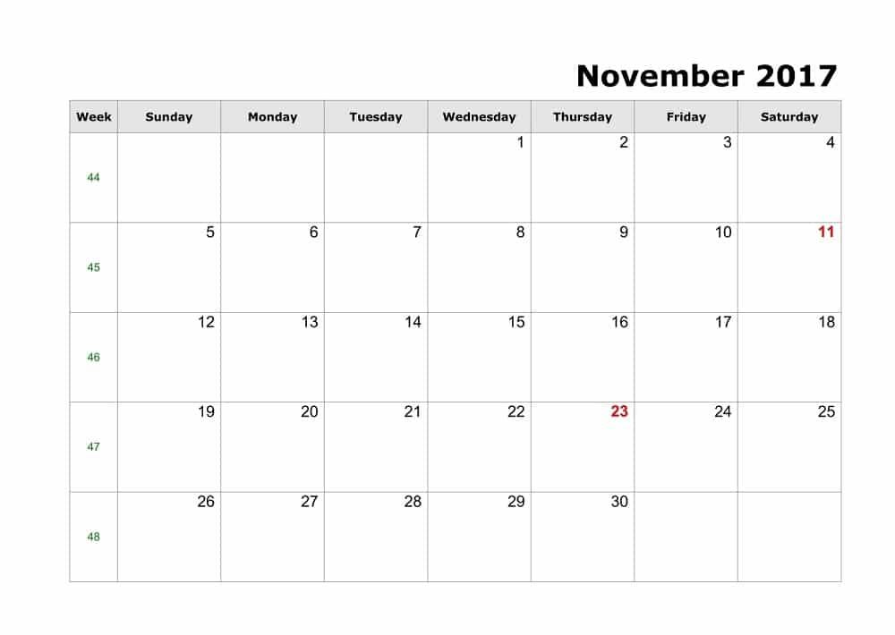 Blank November 2017 Calendar