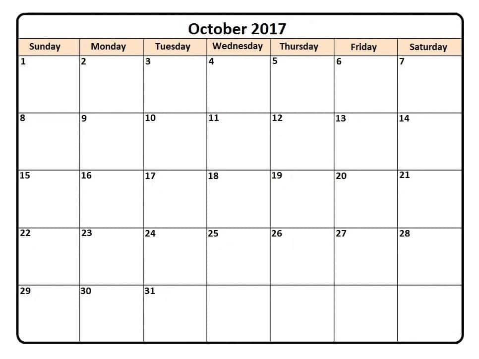 Blank 2017 October Printable Calendar