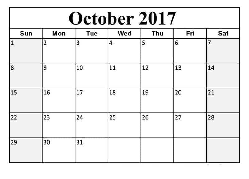 Download October 2017 Calendar