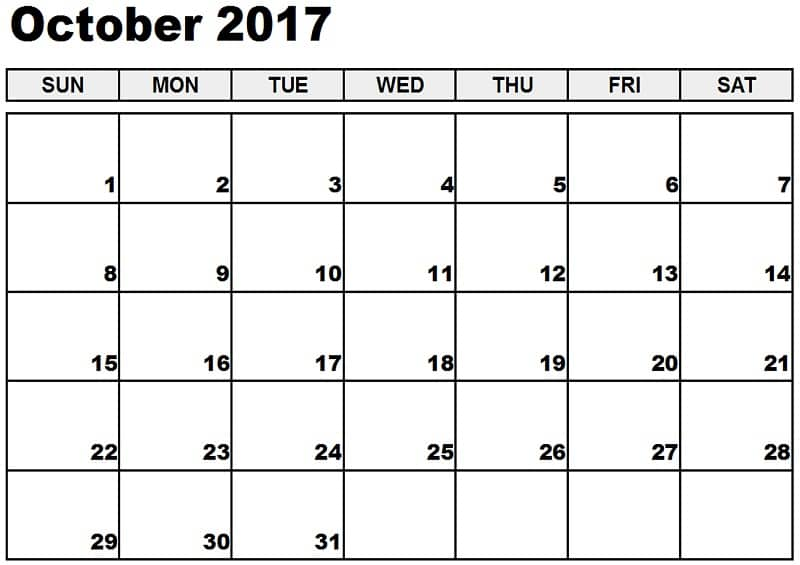 Download October 2017 Calendar