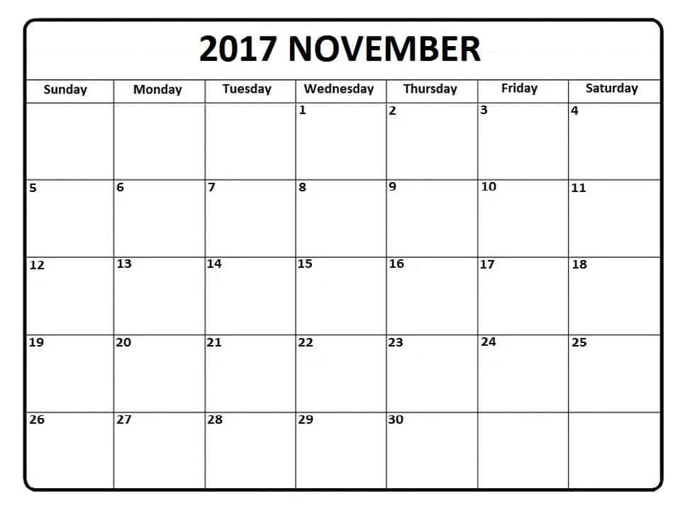 Get November 2017 Calendar Free