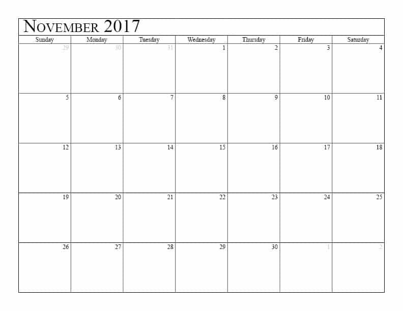 Get November 2017 Calendar