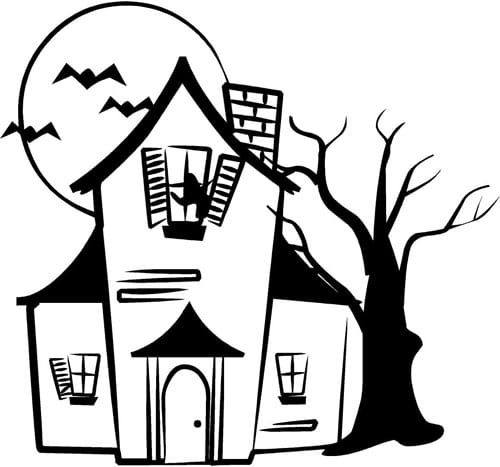 download ghost pumpkin images for color halloween house coloring pages