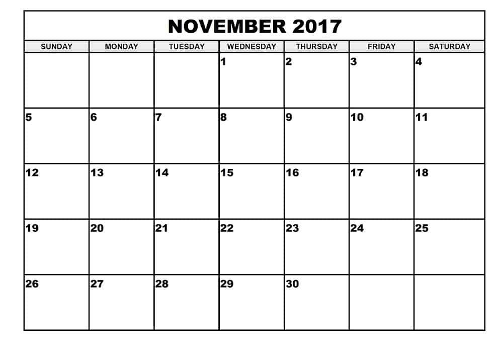 November 2017 Calendar Blank