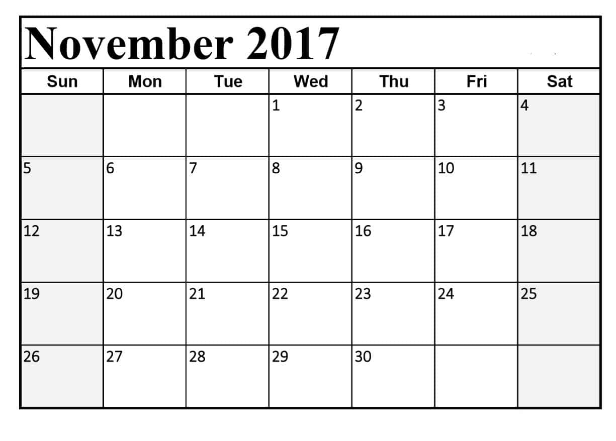 November 2017 Calendar Download