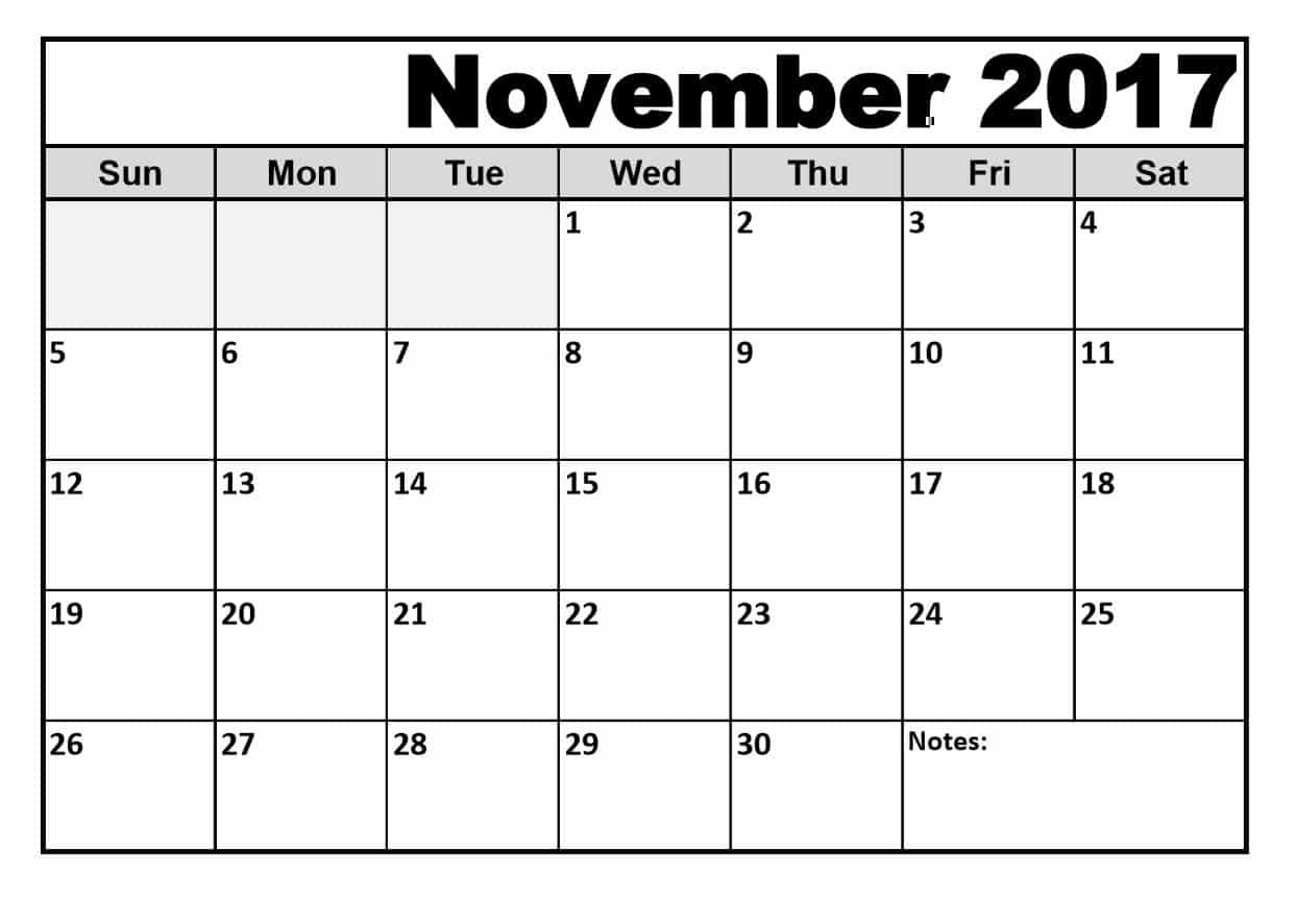 November 2017 Calendar Printable free