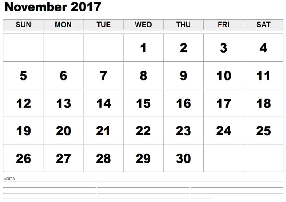 November 2017 Calendar for Office
