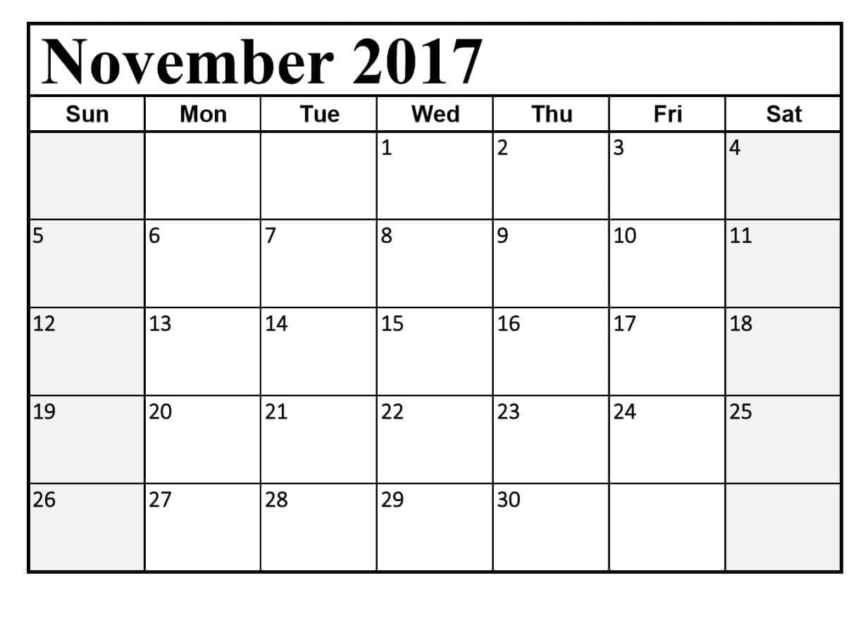 November 2017 Calendar for Print