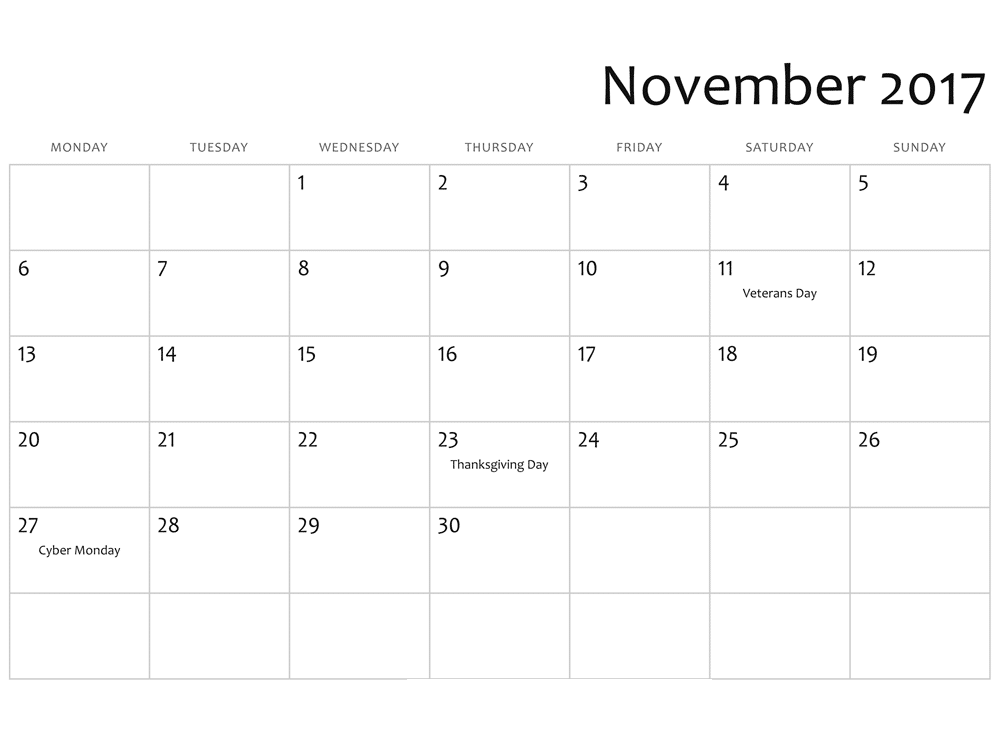 November 2017 holiday Calendar