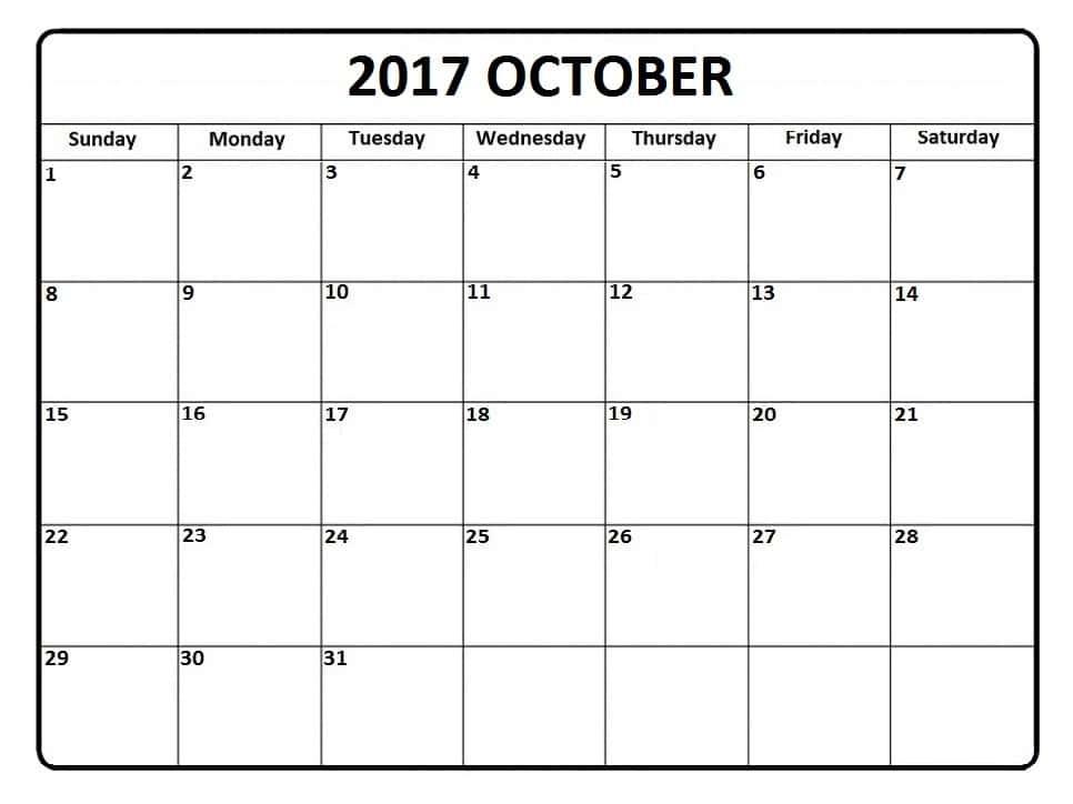 October 2017 Calendar Excel