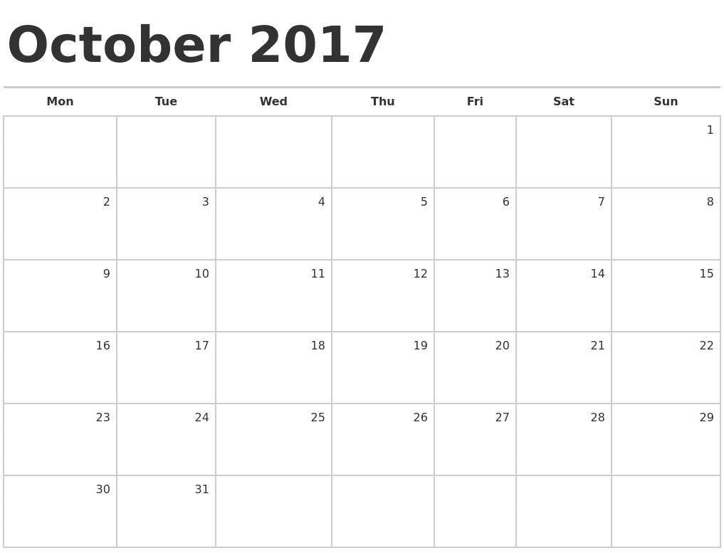 October 2017 Calendar Images