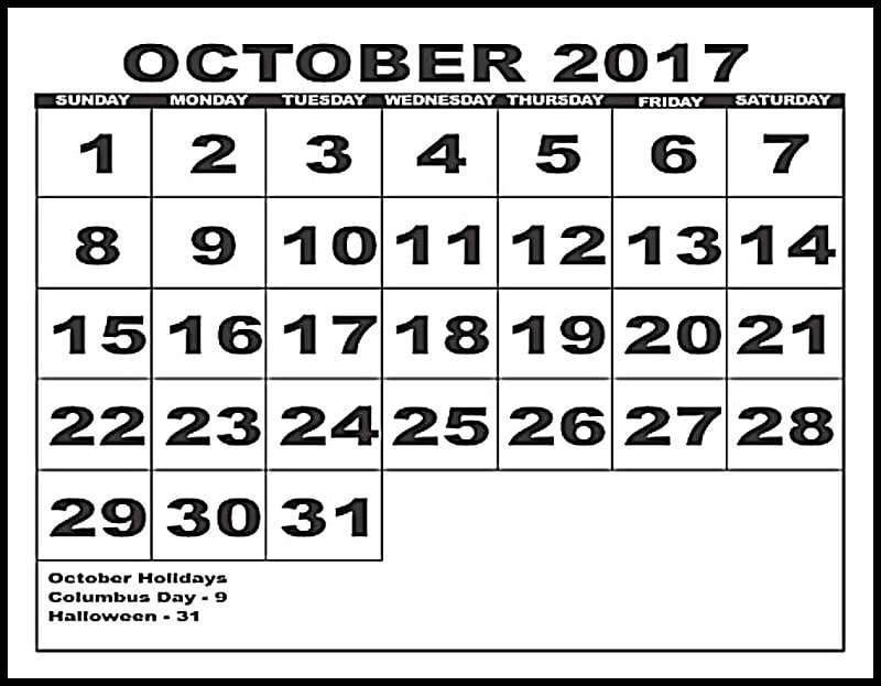 October 2017 Calendar With Holidays