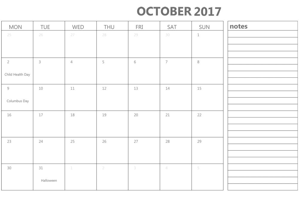 October 2017 Calendar with Notepad