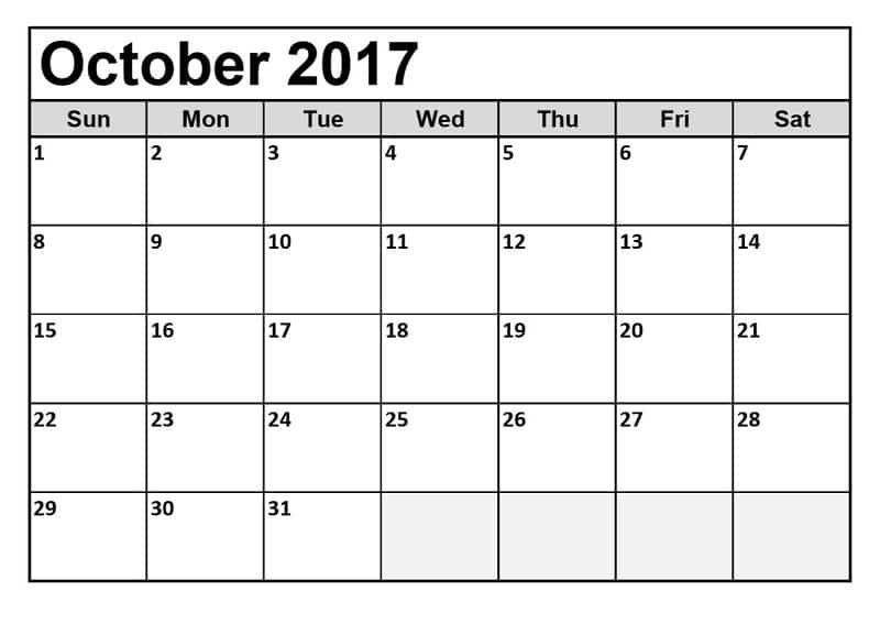 October 2017 calendar download