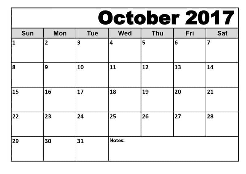 Print October 2017 Calendar